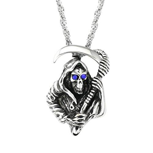 [Valentines Gift--BlueTop Women Men Silver Black Stainless Steel Gothic Biker Casted Grim Reaper Skull Scythe with Blue Eye Pendant Necklace] (Scythe Halloween)