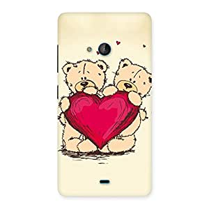 Ajay Enterprises Brave Cute Heart Twin Teddy Back Case Cover for Lumia 540