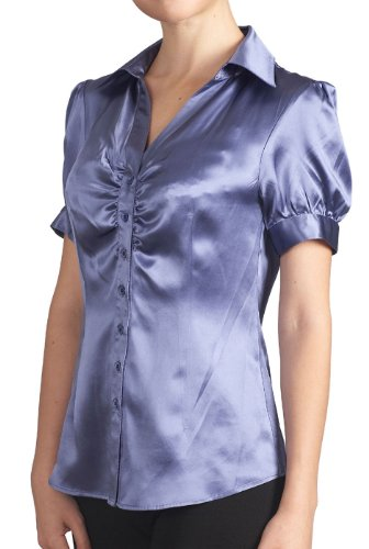 Sandals Cay Women's Satin Silk Ruched Blouse - Lavender 6