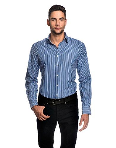EMBRÆR -  Camicia classiche  - A righe - Classico  - Maniche lunghe  - Uomo blu Large