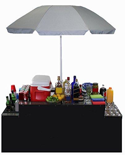 World Outdoor Products PROFESSIONAL Portable Folding Bartenders Table with Umbrella, Table TopTray for Cooler or BBQ, Six Bottle Holders, Decorative Skirt, Custom Carry/Storage Bag