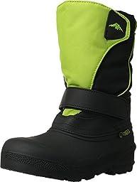 Tundra Boots Kids Unisex Quebec (Toddler/Little Kid/Big Kid) Black/Lime Boot 5 Big Kid M
