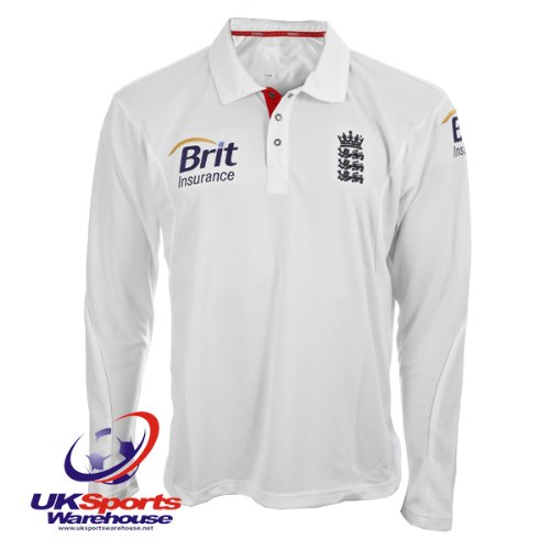 ECB Official Adidas England Cricket Long Sleeved Test Shirt (P48914) rrp£60