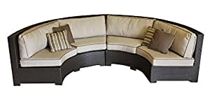 Amazoncom curved wicker sofa sectional two piece set for Curved sectional sofa amazon