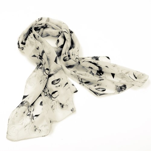 Womens Gorgeous Fashion Chiffon Feel Scarf / Wrap Star Cream images