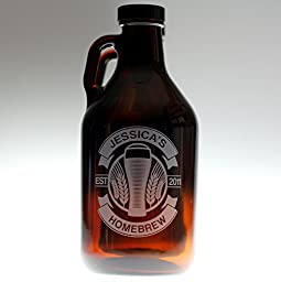 Personalized Engraved Beer Gift Homebrew Growler with Double Banner Curved Wheat Art | Custom Beer Gift