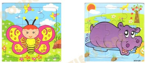 2pcs Wooden Cartoon Animal Jigsaw Puzzle Early Educational Toys Gifts (Butterfly+ Rhinoceros ?