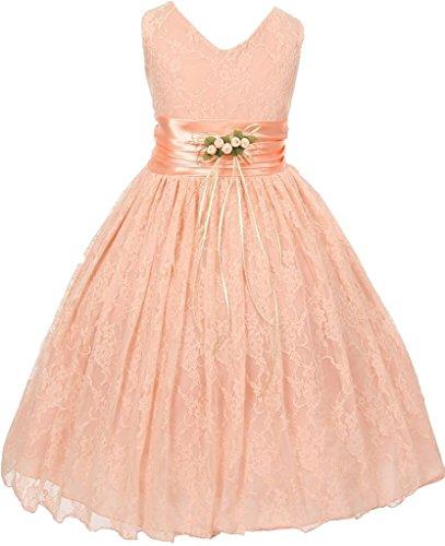 Flower Girl V-Neck Sleeveless Lace Flower Tea Length Dress for Big Girl Peach 10 20.49 (Peach Color Bridesmaid Dresses compare prices)