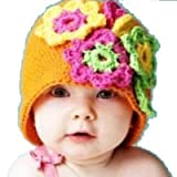 LadyMYP Handmade Knitted cap Baby cap Childrens hat Hats 100 Wool orange Hat with green yellow and rosa Flower
