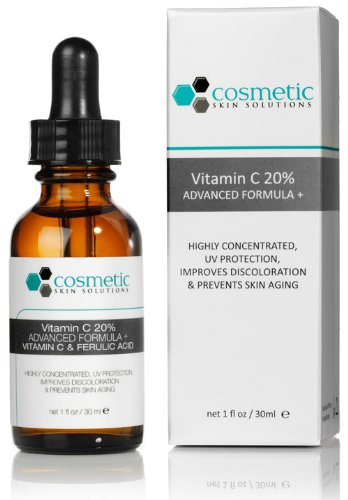 Vitamin C 20% Serum Advanced Formula 1 oz / 30 ml - 20% Vitamin C, 0.5% Ferulic acid, and hyaluronic acid. Highly concentrated, UV protection, prevents skin aging.