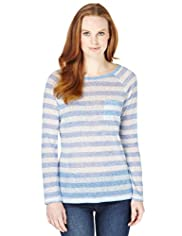 Raglan Sleeve Striped T-Shirt with Linen