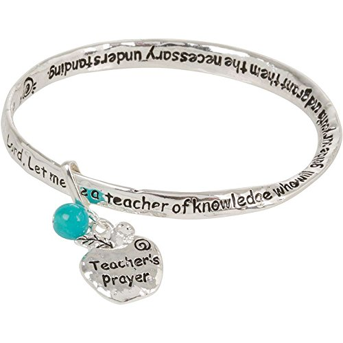 Teacher Prayer Silver Tone Bangle Bracelet with Dangling Apple Charm