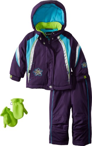 Rothschild Baby-Girls Infant Colorblock Snowsuit With Embroidery, Eggplant, 12 Months front-840805