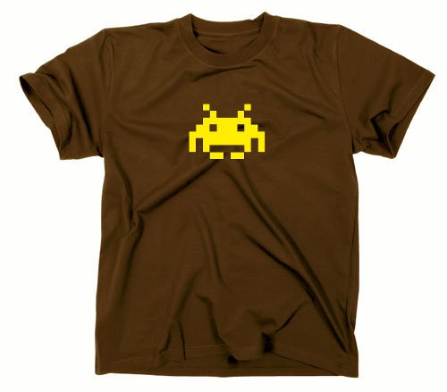 Space Invaders Retro T-Shirt, Atari, C64,eighties,nerd, brown, XL