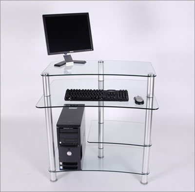 "RTA Home And Office CT-010 32"" W Computer Desk in Clear Glass"