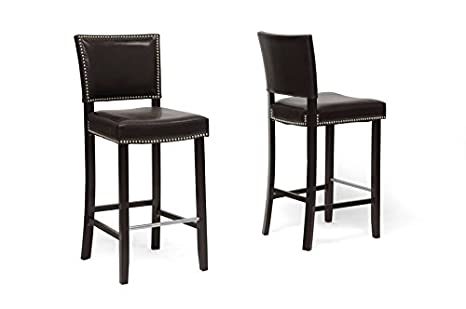 Aries Dark Brown Modern Bar Stool with Nail Head Trim with Chanasya Polish Cloth Bundle (Set of Two)