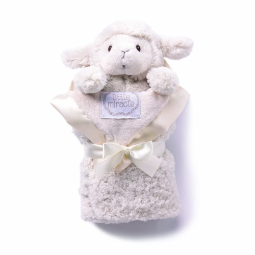 kathy ireland Plush and Blanket Set, Cream Lamb