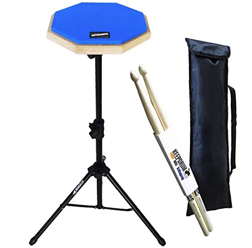 keepdrum-dp-bl-set-practice-pad-with-practice-stand-and-bag-drumsticks-1-pair-black