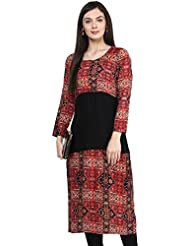 IVES Rayon Printed Black Straight Regular Fit Kurti For Women