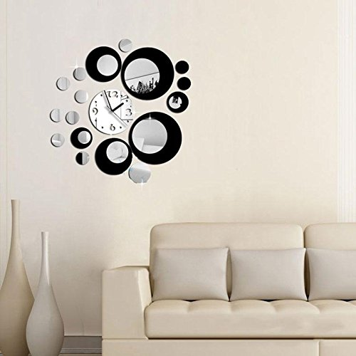 YOUNGFLY Vogue 3D Mirror Wall Clock The Mirror Hanging clock Black