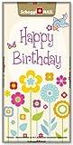 Grusskarte & Schweizer Premium Schokolade, Geburtstagskarte - Happy Birthday Blumen
