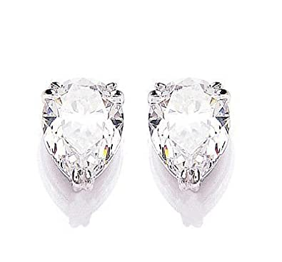 White Gold Cubic Zirconia Pear Solitaire Earrings Made With Swarovski Elements
