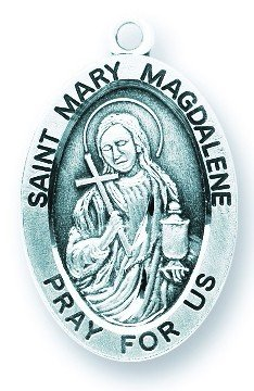St. Mary Magdalene Pendant Oval Sterling Silver with Chain