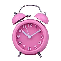 Small Fresh Style 4 inch Twin Bell Alarm Clock Mechanical Loud Stainless Steel#Pink