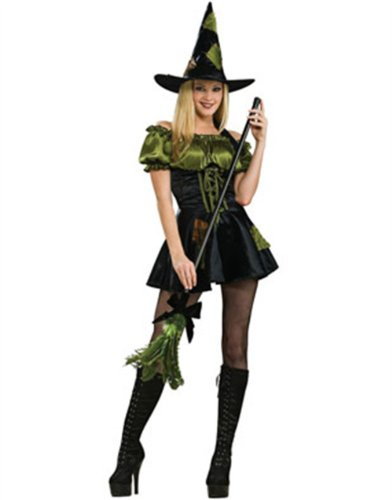 Women's Adult Sexy Green Patch Witch Costume