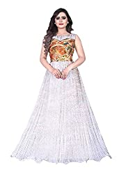 B4Best Creation New Designer White Color Georgette Party-Festive Wear Gowns