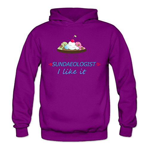 Funny Ice Cream Sundae Women Women's Sports Blank Hooded Sweatshirt Purple (The Secret Life Of John Paul Ii compare prices)
