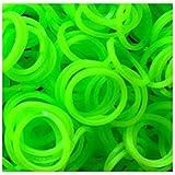Rainbow Loom Bands - Lot de 300 élastiques en silicone vert, 1 crochet et 12 fermoirs pour Loom Bands