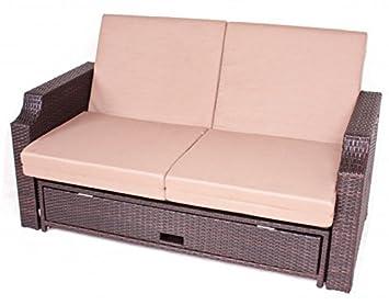 Luxus Multifunktionssofa, verstellbar, Ablagetische, Schublade fur Kissen, inkl. Auflagen, Poly-Rattan mocca