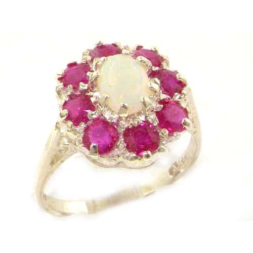 Luxury Ladies Solid Sterling Silver Natural Opal & Ruby Large Cluster Ring - Size 12 - Finger Sizes 5 to 12 Available - Suitable as an Anniversary ring, Engagement ring, Eternity ring, or Promise ring