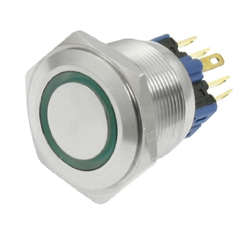 220V Green Led Momentary Stainless Push Button Switch 1No 1Nc