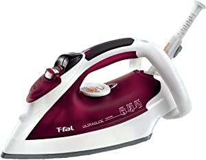 T-Fal FV4379003 Ultraglide Easycord Iron with Scratch Resistant Nonstick Soleplate & Anti-Scale System, Red