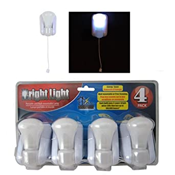 bright light led stick up pull chain battery powered bulb portable. Black Bedroom Furniture Sets. Home Design Ideas