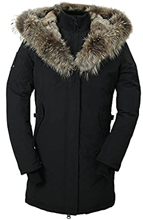 Cheap Women's fur hood down filled coat,BLACK,SIZE XL