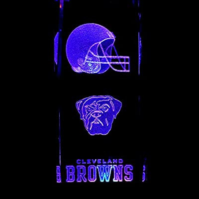 Cleveland Browns 3D Laser Etched Crystal 6 Inch + Display Light Base Black