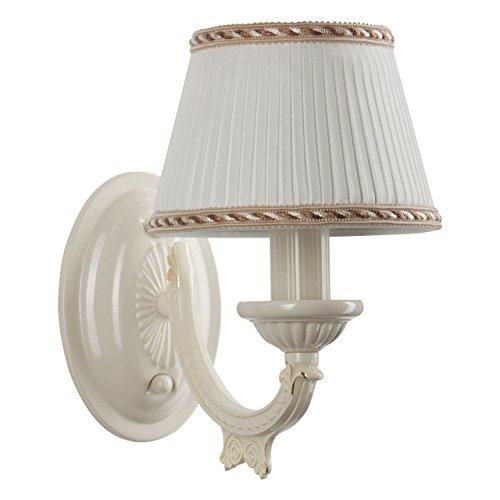 Applique style classique, armature en métal couleur blanc, plafonnier en forme de abat-jour en tissu blanc ampoule non-incl. E14 1x60W 230V