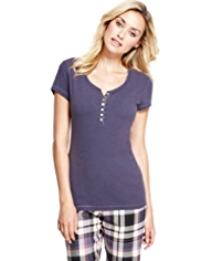 Limited Collection Cotton Rich Henley Neck Pyjama Top