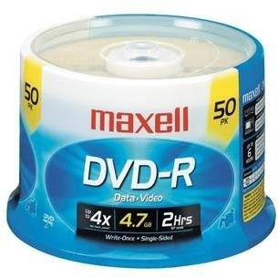 Maxell 16x 4.7 GB DVD-R Spindle (50 Discs)