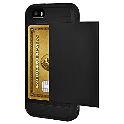 AMZER Full Body Hybrid Credit Card Case with Holster for iPhone 5 / iPhone 5S - Black