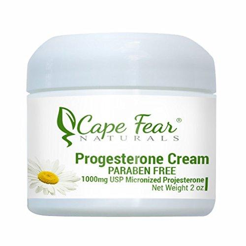Cape Fear Naturals - crème à la progestérone PARABEN FREE - inhibe les effets de trop beaucoup oestrogène - aide avec les bouffées de chaleur (ménopause) - pour hommes & femmes - pot de 2oz