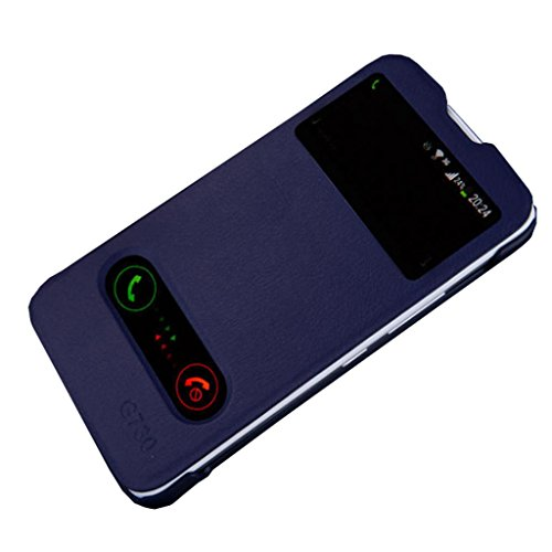 G730 Case,Gift_Source Brand PU Leather Double View Windows Flip Slim Protector Case Cover With Stand For Huawei Ascend G730- Navy + 1 X Screen Protector and Stylus Pen