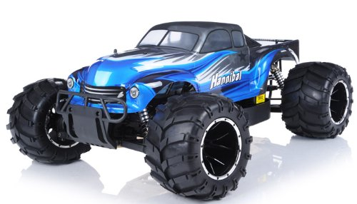 remote control radio control rc 1/5th Giant Scale Exceed RC Hannibal 30cc Gas-Engine Remote Controlled Off-Road RC Monster Truck w/ 2.4Ghz TX 100% RTR & Fail Safe (AA blue- or next available- color may vary sent at random)