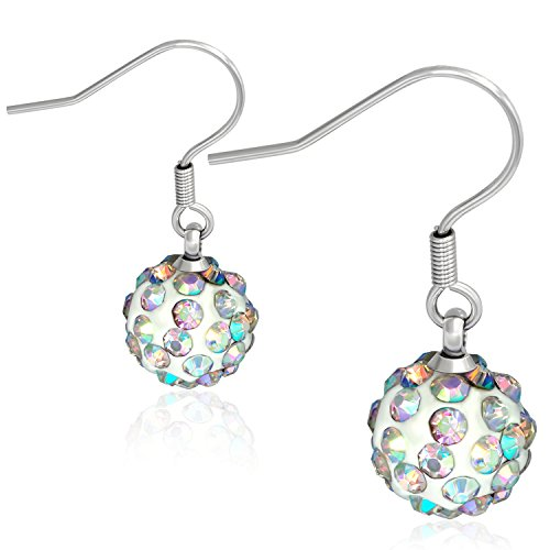 10mm Stainless Steel Argil Disco Ball Shamballa Long Drop Hook Earrings with Aurore Boreale CZ K790