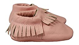 Lucky Love Baby Moccasins, Genuine Leather Pink Size 2 M US Infant