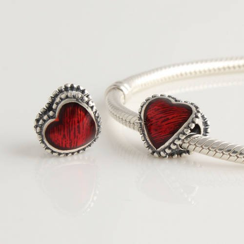 General Gifts 925 Sterling Silver Red Enamel Heart Charm for Pandora, Biagi, Chamilia, Troll and More Bracelets