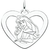 St Silver Disney Sleeping Beauty Heart Charm Jewelry